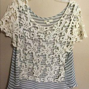 Issa m lace overlay short SL top blue white stripe